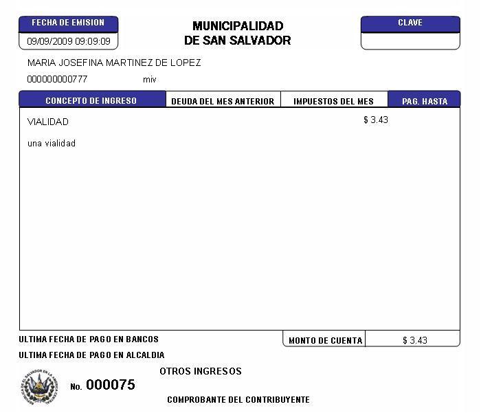 01 - Recibo para pago de impuesto de vialidad